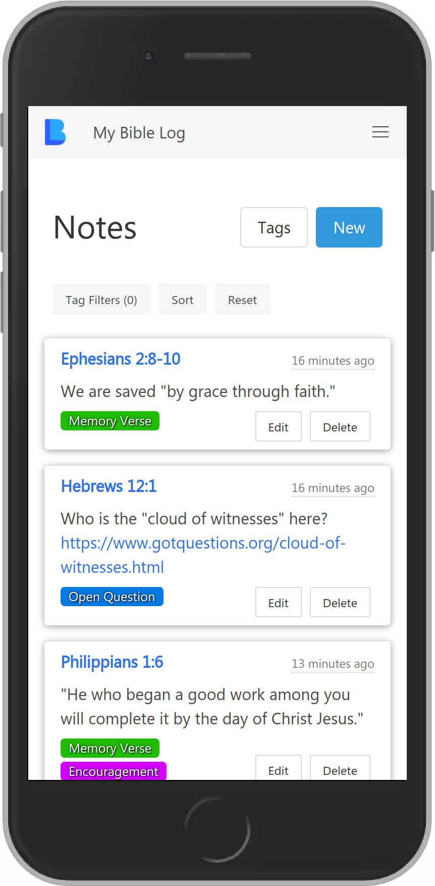 My Bible Log showing reading notes