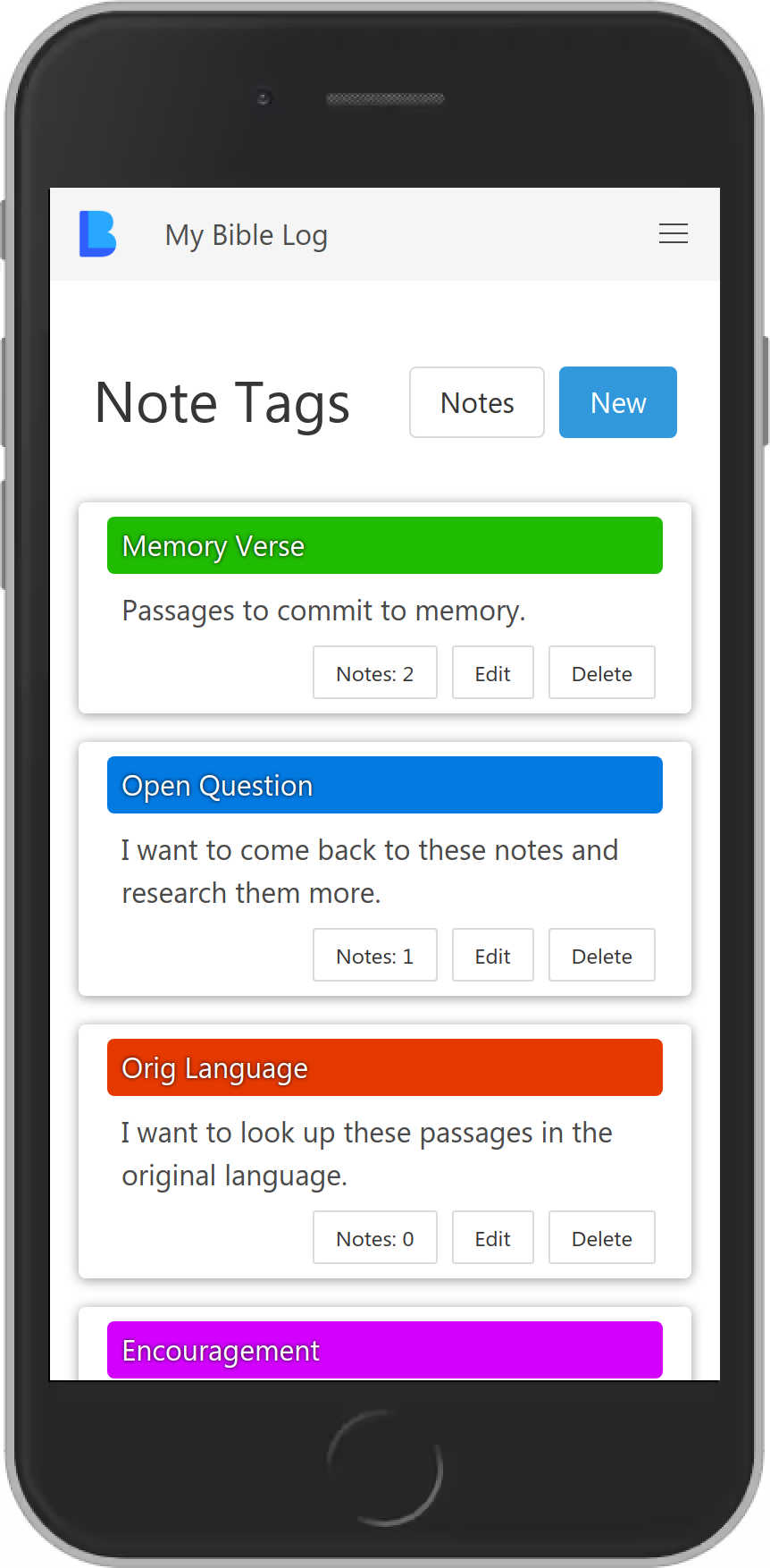 My Bible Log showing custom note tags